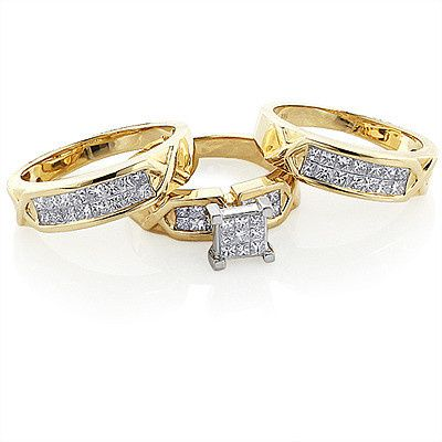 14k gold princess diamond engagement trio ring set