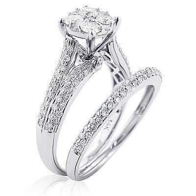 cluster diamond engagement ring set 143ct 14k gold