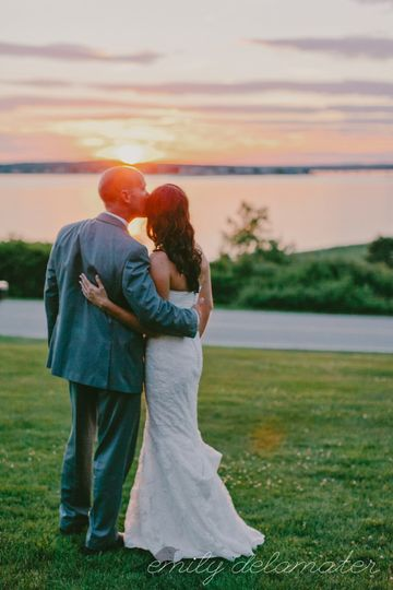Sunset over the happy couple