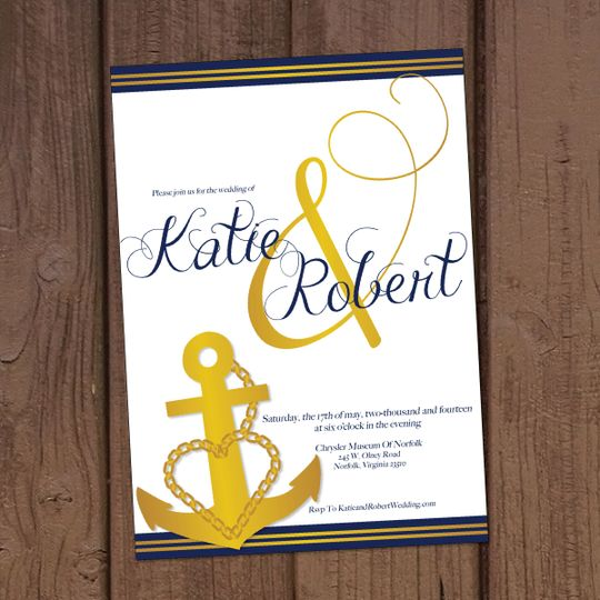 This wedding invitation was created especially for our Navy couples!