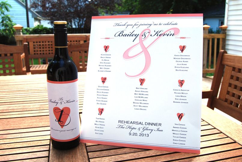 This writeable wine bottle label and matching seating chart are simple and romantic.