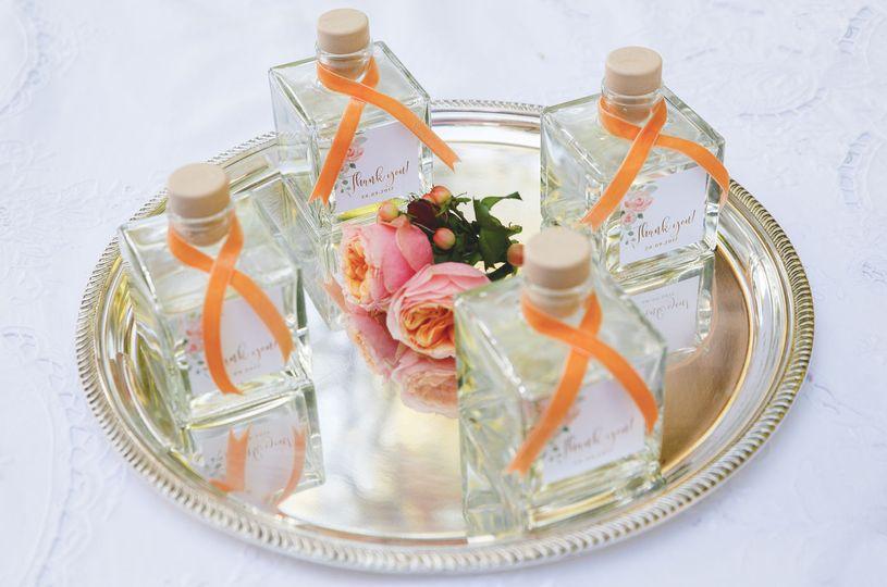 Luxury favor bottles with velvet ribbon
