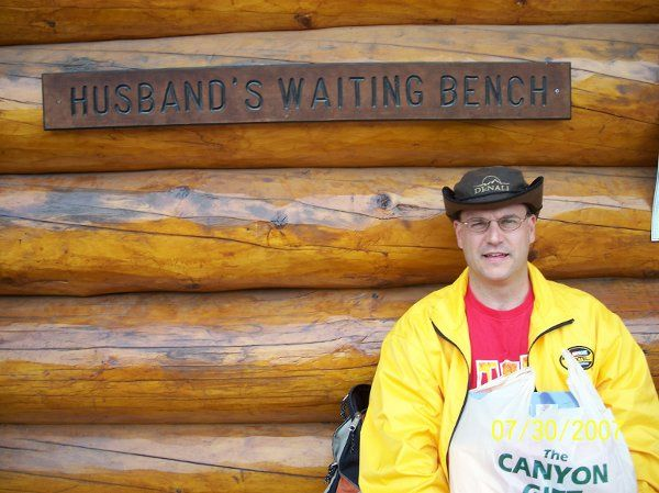 Alaska - Shopping & Husband's Waiting Bench!