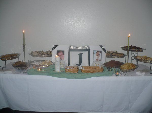 The cookie table, a Northeast Ohio tradition, along with their handmade card box, and engagement...