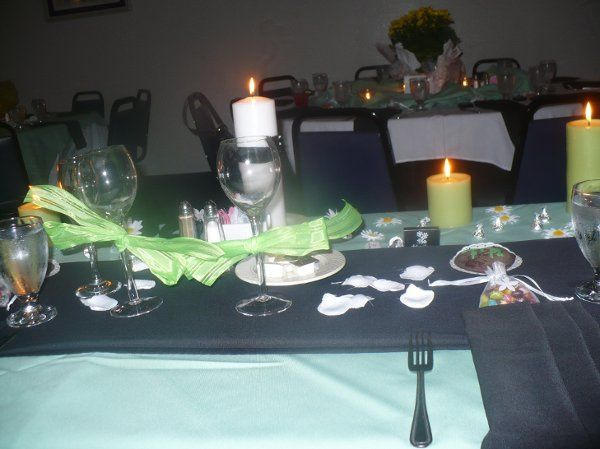 Another view of the sweetheart table, and the guest table across from it.  We used the potted...