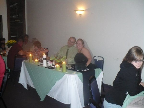 A picture of Holly and James at their sweetheart table.