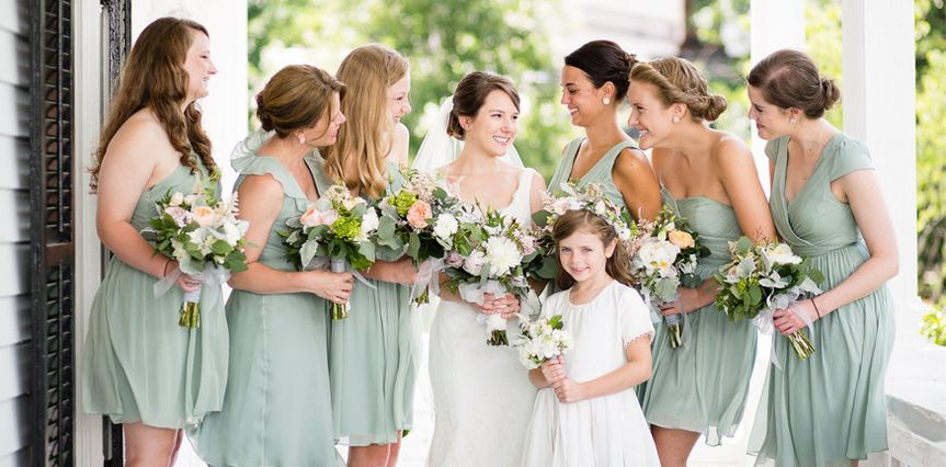 green bridesmaids dresses orangerie events nc wedd