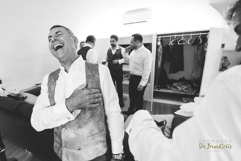 Laughter in the groom's suite