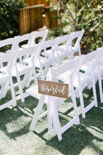 White garden chair rentals | Photo credit Katie Sanders Photography