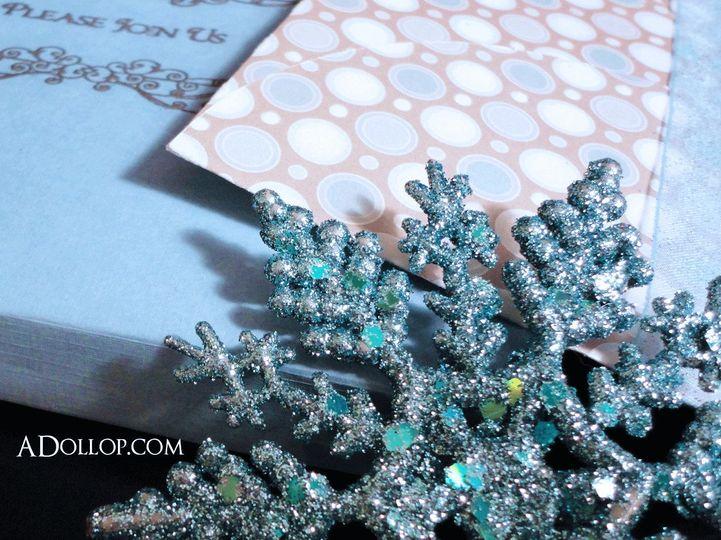 Unique Wedding Invitations|Silver White and Blue Snowflake Boxed Wedding Invitation.  Perfect for a...