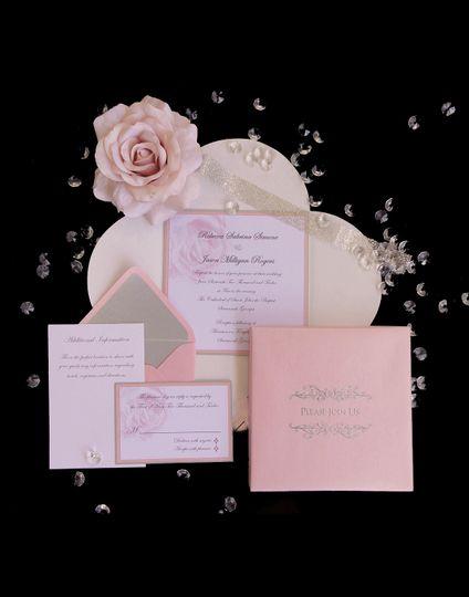pinksilver rose boxed wedding invitationcustomcout