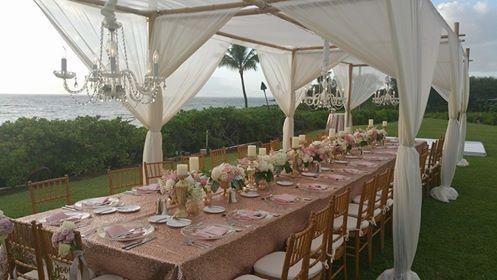 Reception overlooking the ocean in Maui, Hawaii