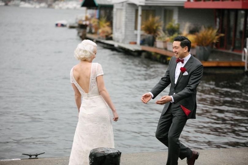 Newlyweds by the water