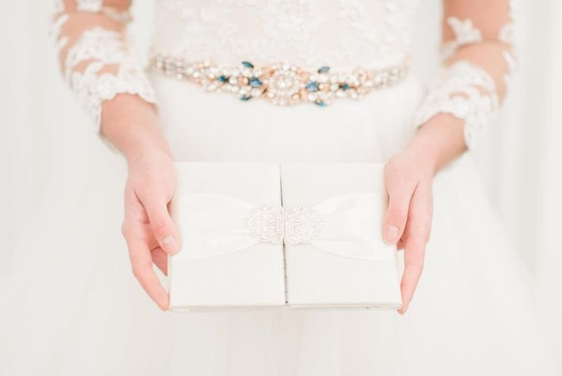 Bride holding an invitation