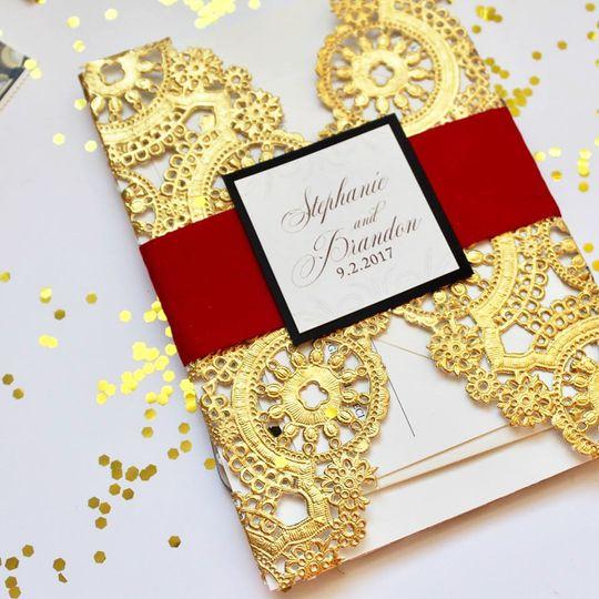 Gold lace inviataion