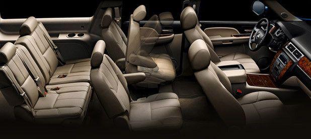 SUV interior. Seats up to 5 passengers.