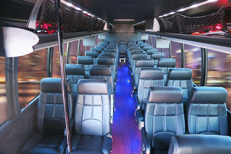 Interior of Executive Coach - 39 passengers. Leather reclining seats with arm rests. Five TV...