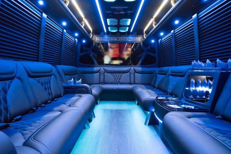 Luxury Minibus at Night