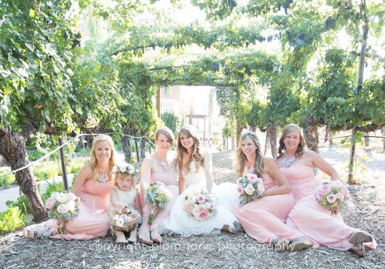 Wilson Creek Winery wedding with beautiful pale pink garden roses and white hydrangeas