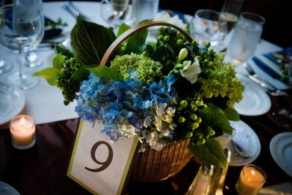 hydrangea  nantucket wicker basket arrangement