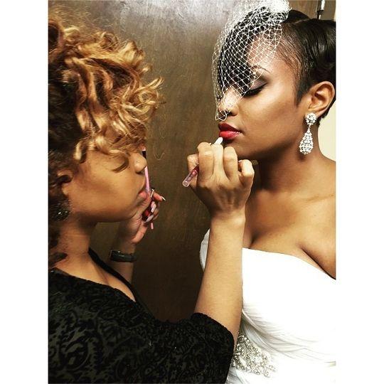 Bride with her makeup artist