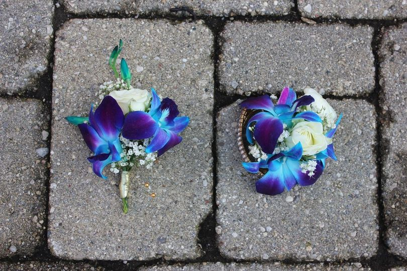 Blue Orchid Corsage and Boutonniere