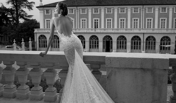 Open back wedding dress with long train