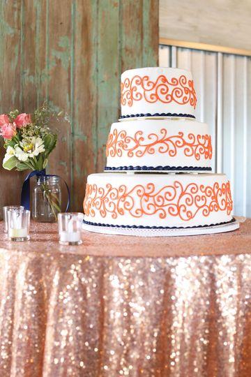 Three-layer wedding cake