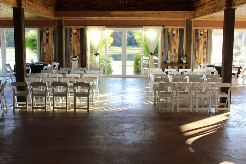 Setting up for indoor wedding