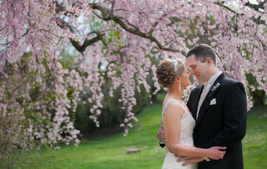 weeping pink blossoms romantic bride groom spring wedding historic rosemont manor berryville virginia 246 julie napear photography 51 23772
