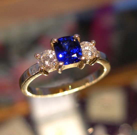 Sapphire-Diamond engagement ring. For more jewelry go to http://www.creaserjewelers.com/ Find us and...