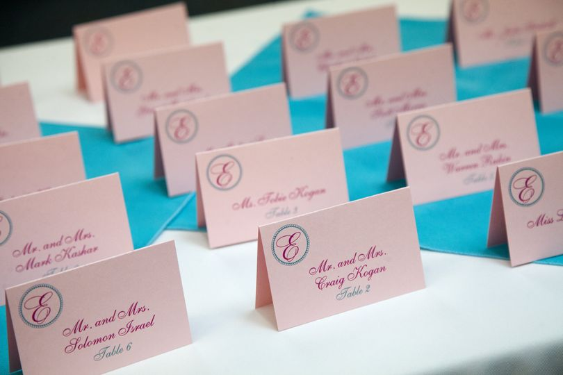 Timeless invitation ensemble Pink monogram escort cards