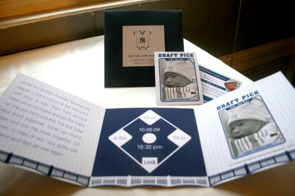 Tri-fold Yankees-themed Birth Announcement with detachable Rookie Baseball Card for Baby Logan.