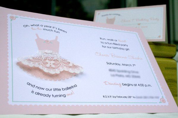 Ballerina-themed 1st Birthday Party Invitation with tulle & lace embellishment