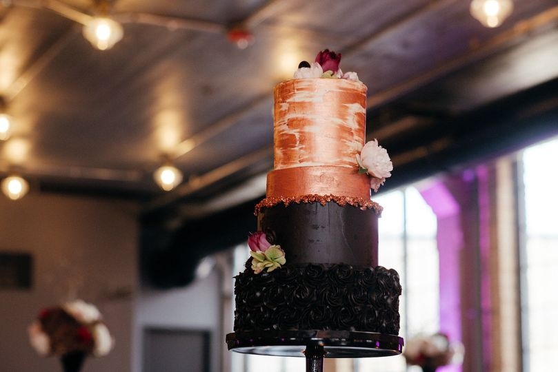 Black and Rose Gold cake