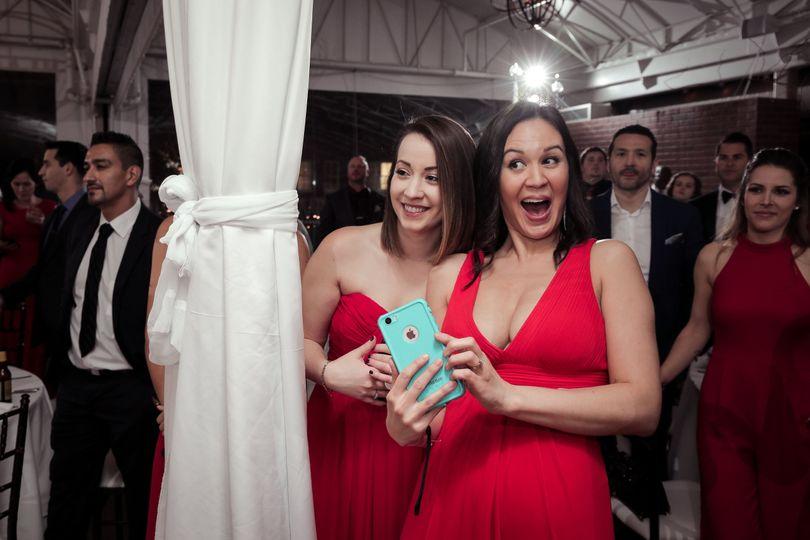 Surprised bridesmaids