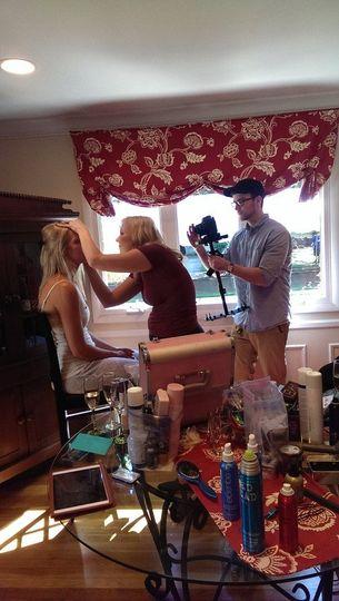 Me (Ethan) filming bride prep.