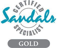 elise sandals gold specialist logo