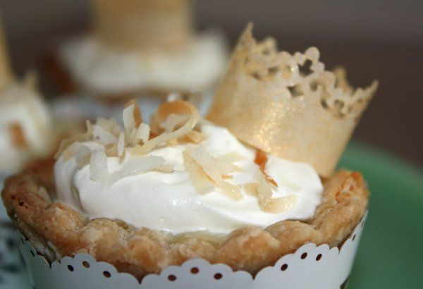 Coconut Cream Petite Pie with Edible Rice Paper Crown