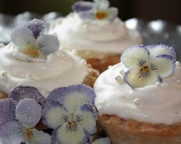 Vanilla Cream Petite Pies with Delicate Sugared Pansies