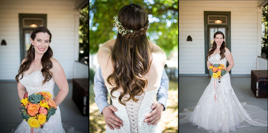 Front and back of bridal dress and hairdo