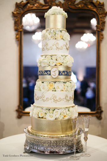 Tall rose wedding cake