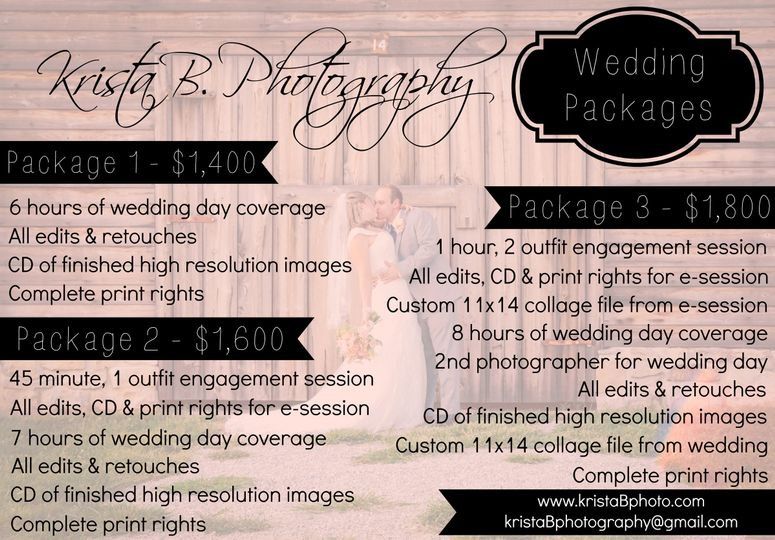 For more information or custom packaging, email kristaBphotography@gmail.com!