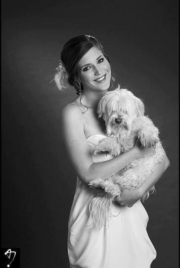 Bride portrait with her dog