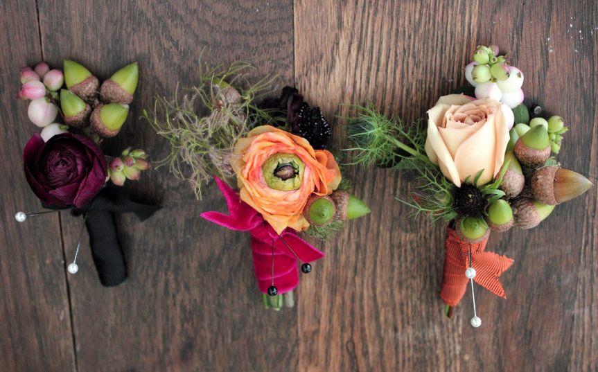 Rustic Fall boutonnieres by Sachi Rose