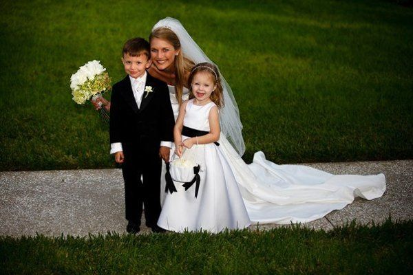 Bride with flower girl and ring bearer