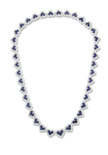 saphire and diamond necklace