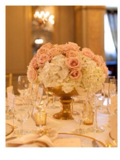 Low Hollywood glam hydrangea and rose centerpiece