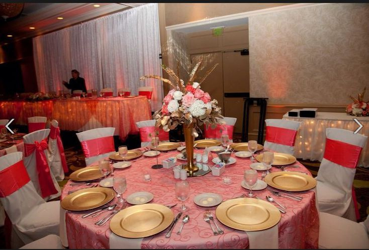 Table setup with centerpiece