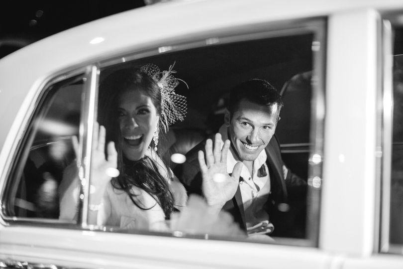 Couple's getaway car